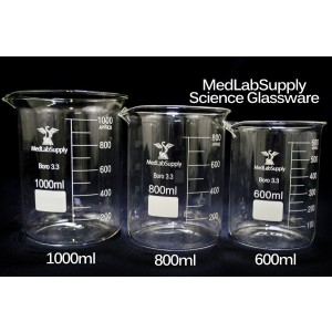 800mL Low Form Graduated Glass Beakers by Med Lab Supply