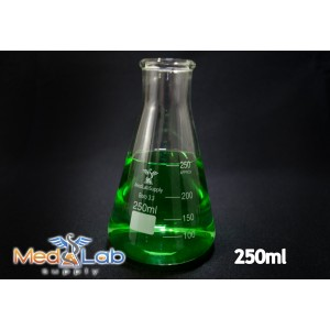 250 mL Erlenmeyer Flask, Narrow Neck, Glass, Graduated