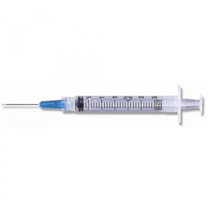 "BD Luer-Lok Syringe Tip, PresicionGlide Needle, 3mL x 21g x 1"", 100/BX, 309575"