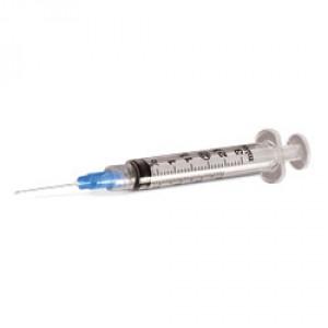"""Exel Luer Lock Syringe & Needle, 3cc, 22g x 3/4"""", 100/BX, 26115"""
